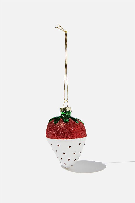 Small Glass Christmas Ornament, SPRINKLE STRAWBERRY