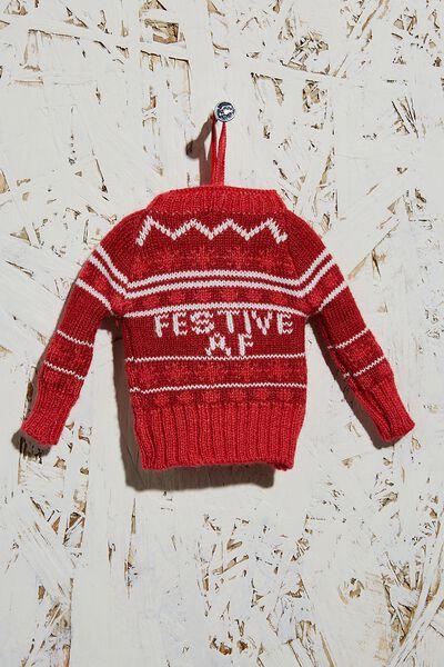 Knitted Christmas Ornament, FESTIVE AF JUMPER!