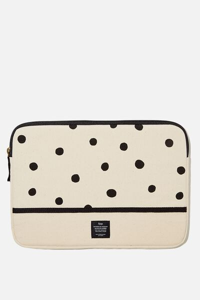 Canvas 13 Inch Laptop Case, RG OVERSIZED POLKA WITH RAW CANVAS SPLICE