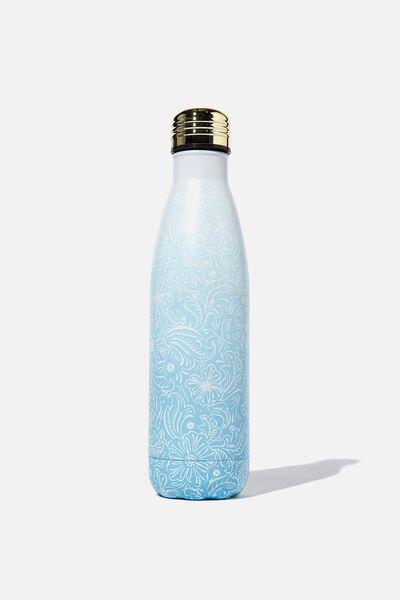 Metal Drink Bottle, BLUE OMBRE LACE