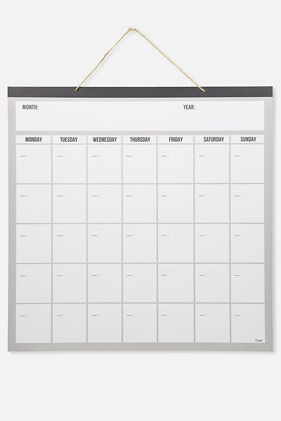 Undated A1 Square Hanging Calendar, GREY