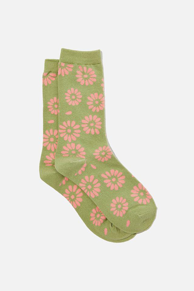 Socks, STAMPED DAISY GREEN