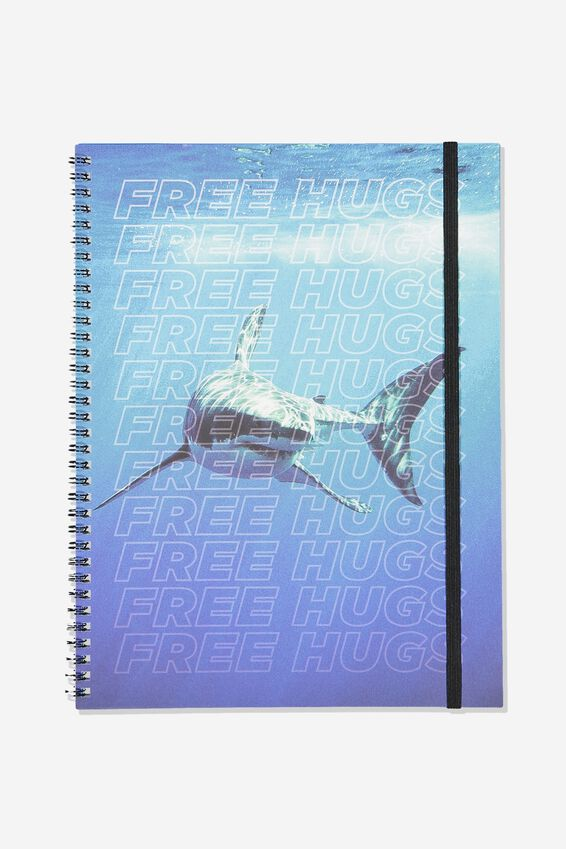 A4 Spinout Notebook Recycled, SHARK FREE HUGS