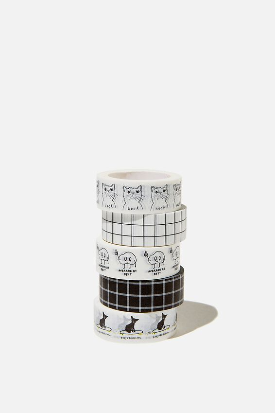 Washi Tape 5Pk, BLACK GRID COMBO
