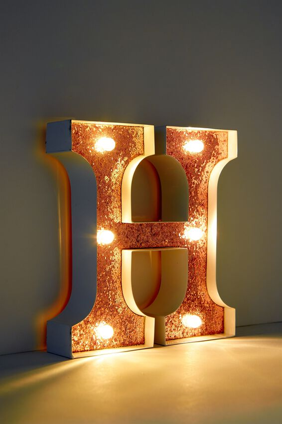 Marquee Letter Lights Premium 16cm Midi, WHITE WITH ROSE GOLD H