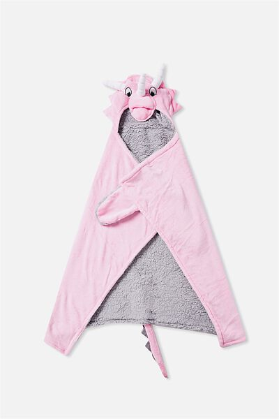 Novelty Hooded Blanket, PINK DINO