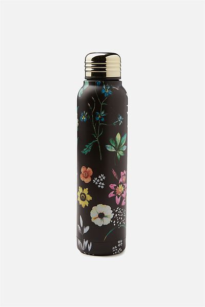 Small Metal Drink Bottle, BLACK FLORAL