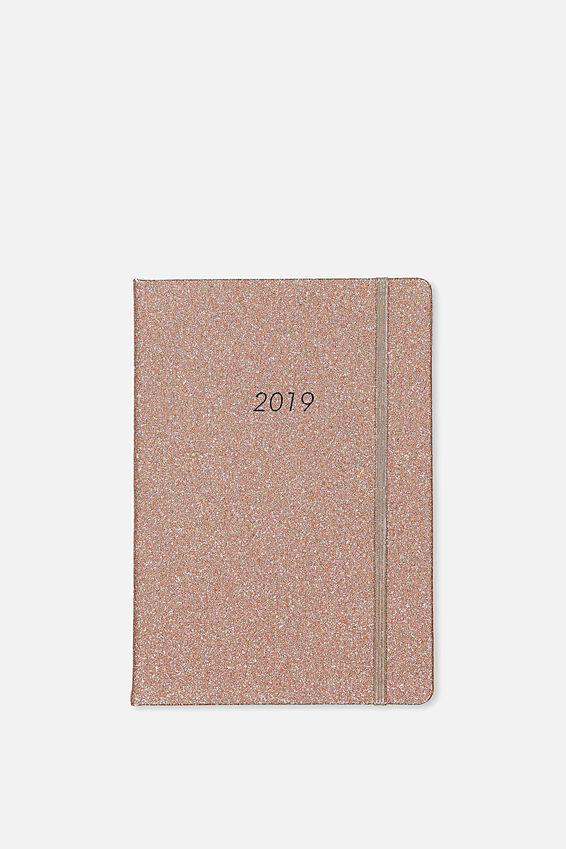 2019 A5 Daily Buffalo Diary, ROSE GOLD GLITTER