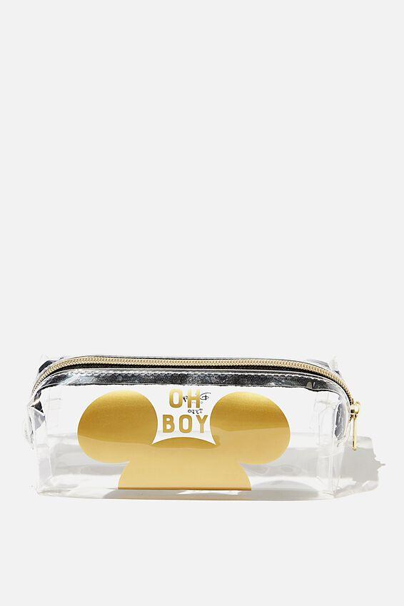 Disney Clear Bailey Pencil Case, LCN DIS MK MICKEY GOLD EARS