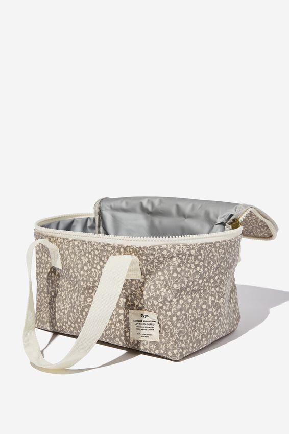 BYO Lunch Bag, COOL GREY MEADOW DITSY