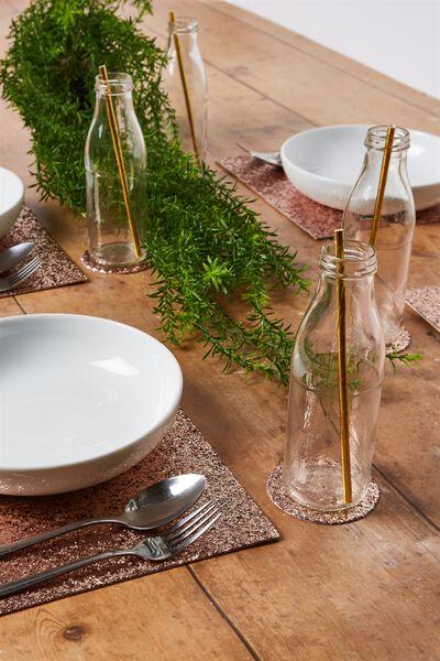 Glitter Table Mat & Coaster 4Pk, ROSE GOLD GLITTER