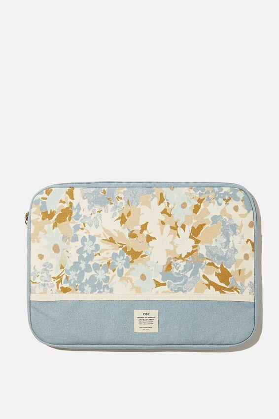 Canvas 13 Inch Laptop Case, BLUE DAPHNE FLORAL WITH DUSTY BLUE SPLICE