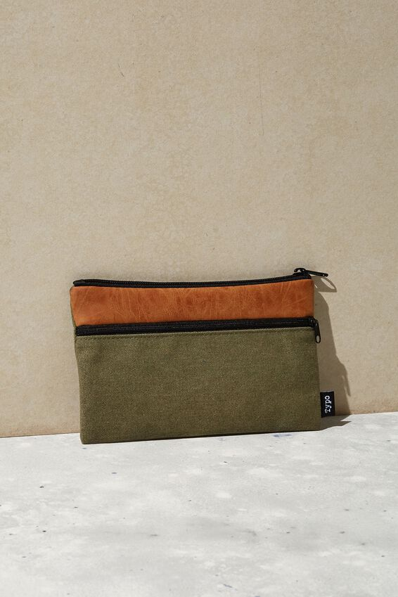 Archer Pencil Case, KHAKI & TAN