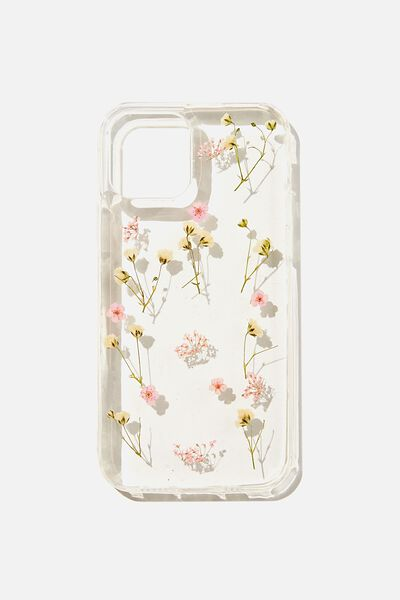 Protective Phone Case Iphone 12, 12 Pro, PINK TRAPPED MICRO FLOWERS