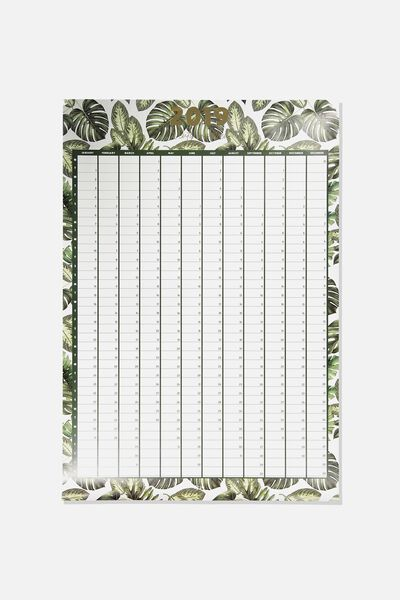 A1 Yearly Planner, PALM PRINT