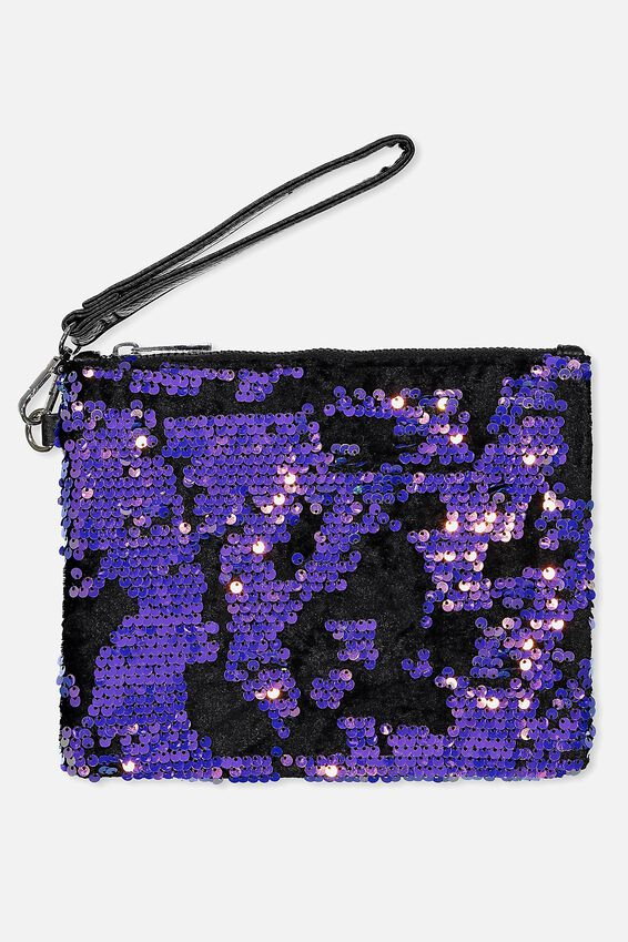 Wristlet Zip Pouch, MULTI SEQUIN