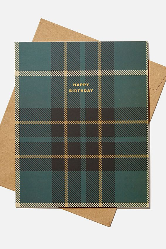 Nice Birthday Card, GREEN TARTAN BIRTHDAY