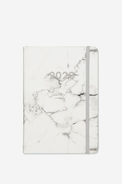 2020 A5 Weekly Buffalo Diary, WHITE MARBLE