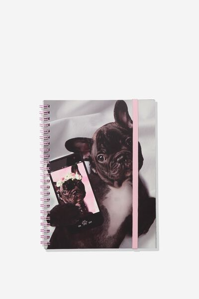 Small Spinout Notebook - V, FRENCHIE SELFIE