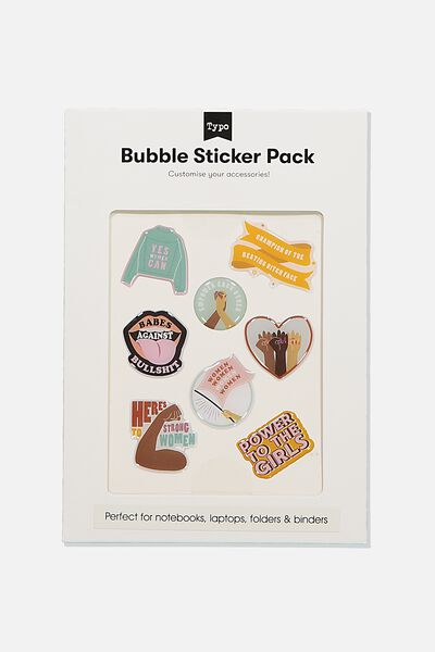 Bubble Sticker Pack, POWER TO THE GIRLS!