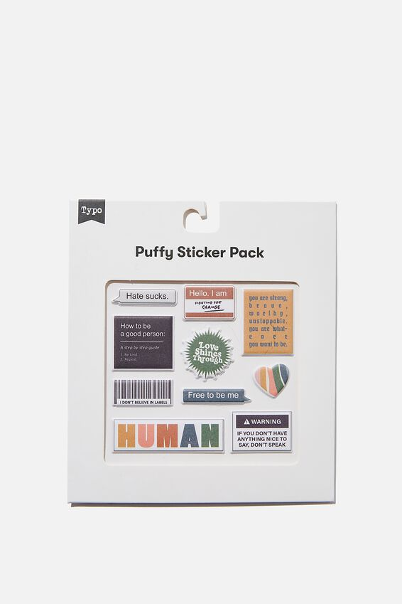 Puffy Sticker Pack, HUMAN