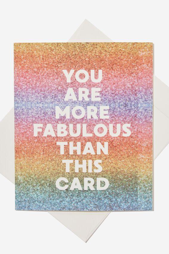 Premium Blank Card, GLITTER RAINBOW FABULOUS
