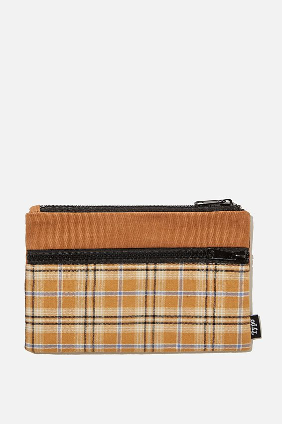 Archer Pencil Case, PLAID MUSTARD