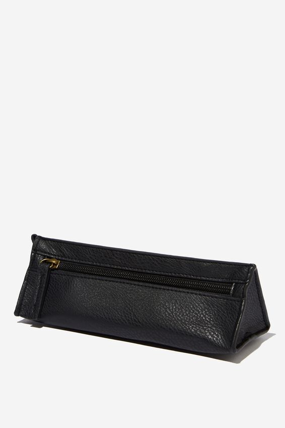 Tri Side Pencil Case, BLACK