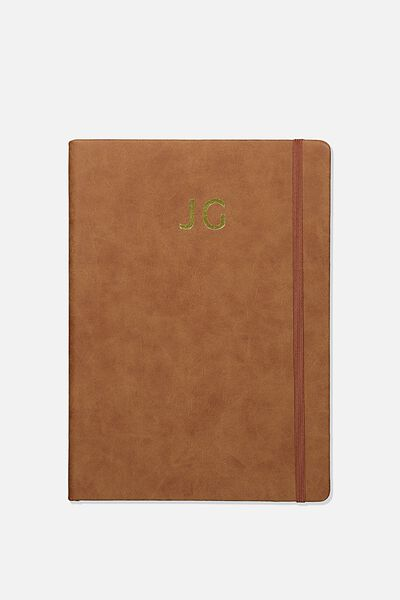 A5 Buffalo Journal Personalisation Large Letters, MID TAN