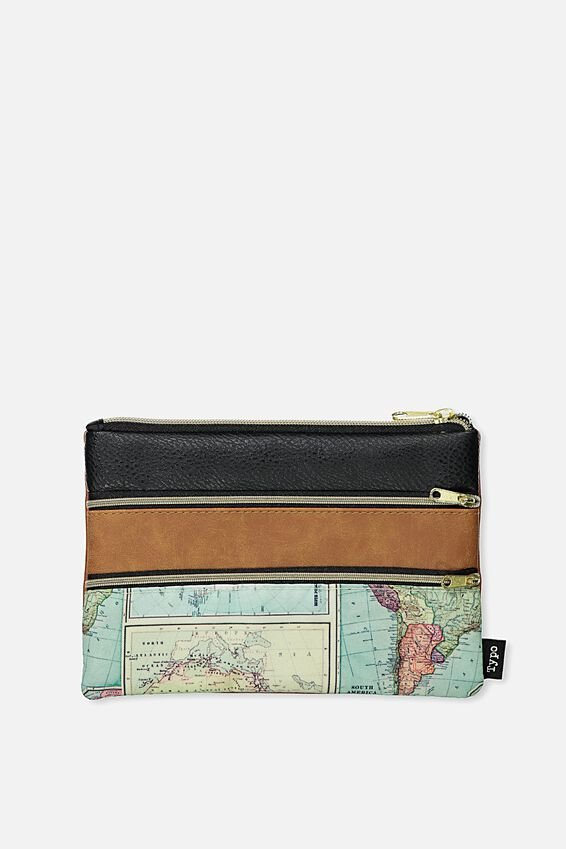 Double Archer Pencil Case, MAP TAN BLACK