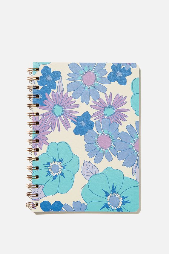 A5 Dot Daily Scribe Notebook, BLUE STEVIE FLORAL