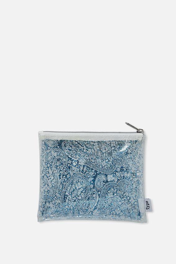 Clear It Pencil Case, BLUE GLITTER LACE