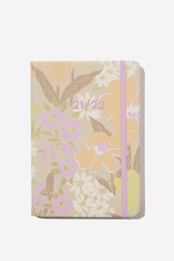 2021 22 A5 Weekly Buffalo Diary, SAND GOLDIE FLORAL