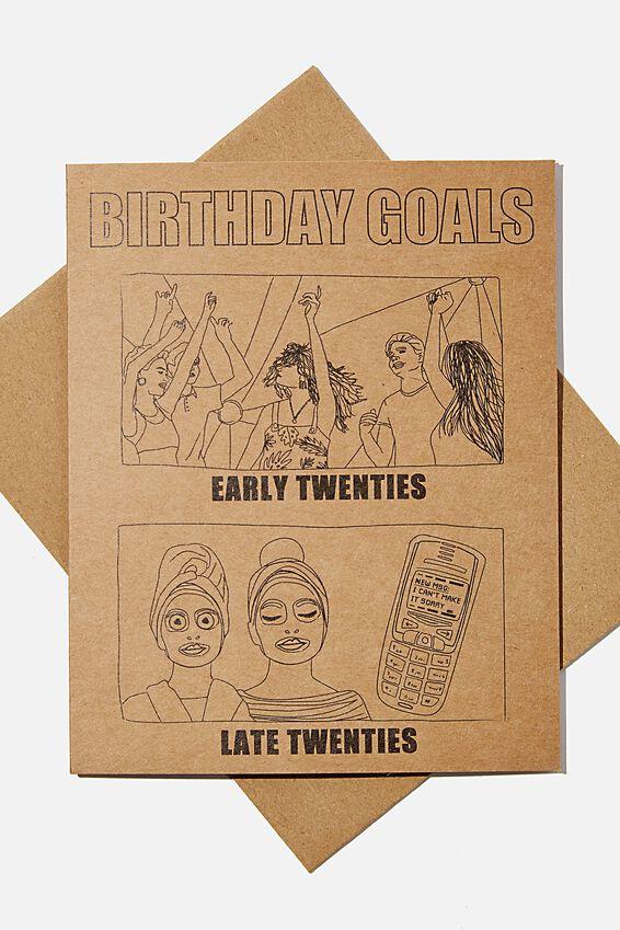 Funny Birthday Card, TWENTIES BIRTHDAY GOALS