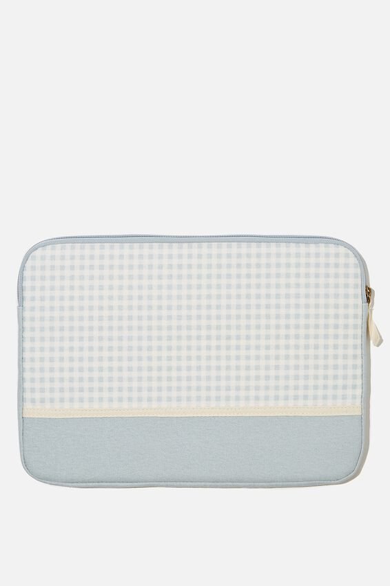 Canvas 13 Inch Laptop Case, GINGHAM HYACINTH WITH HYACINTH SPLICE