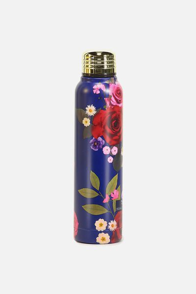 Small Metal Drink Bottle, BLUE FLORAL