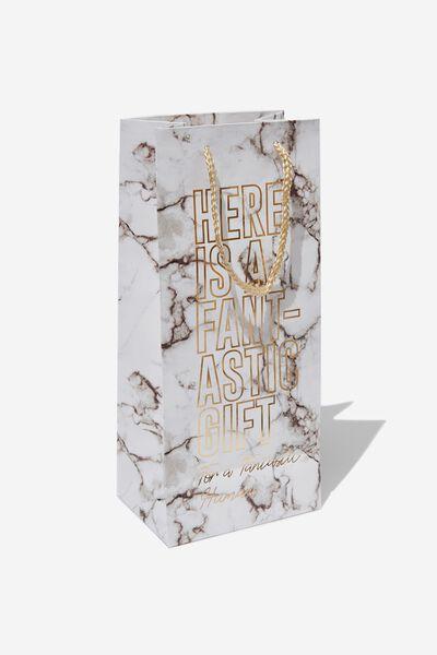 Bottle Gift Bag, WHITE MARBLE FANTASTIC HUMAN