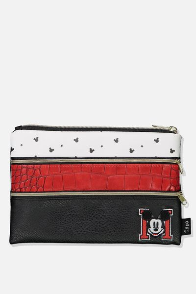 Double Archer Pencil Case, LCN DIS MICKEY BADGE