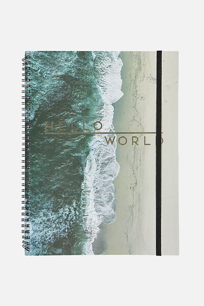A4 Spinout Notebook - 120 Pages, HELLO WORLD BEACH