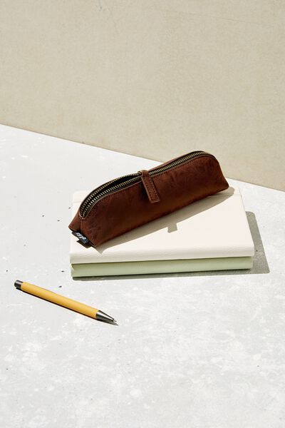 Buffalo Barrel Pencil Case, RICH TAN