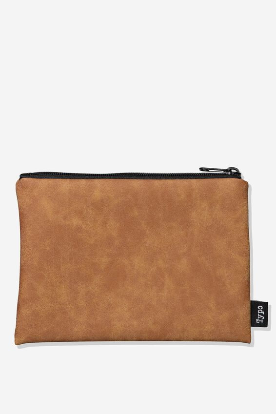 Pu Campus Pencil Case, TAN