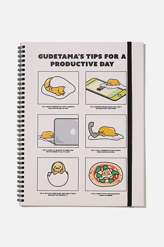 A4 Gudetama Spinout Notebook Recycled, LCN SAN GU PRODUCTIVE DAY