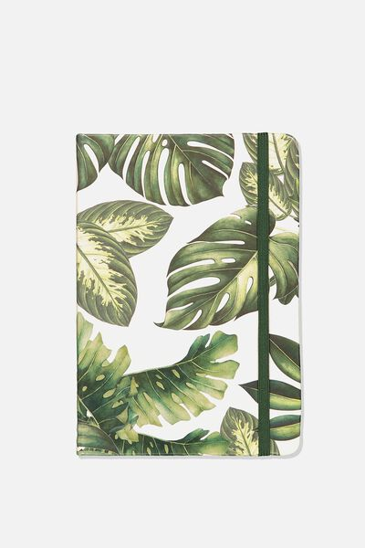 A5 Fabric Undated Weekly Diary, MONSTERIA LEAF