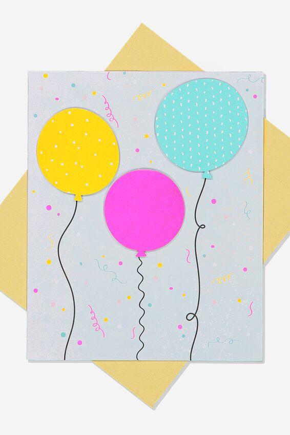 Premium Nice Birthday Card, 3D BALLOONS