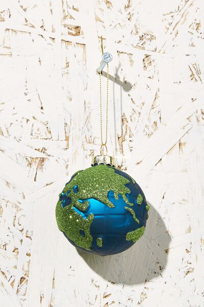 Small Glass Christmas Ornament, WORLD GLOBE