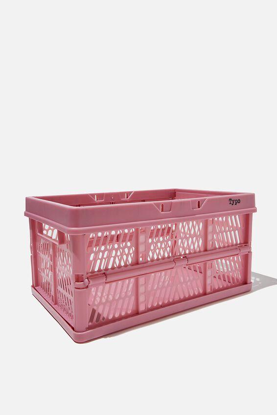Midi Foldable Storage Crate, MAUVE AMETHYST