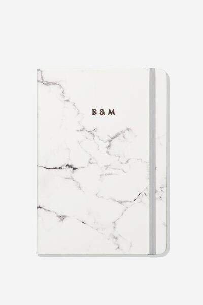 "Personalized A5 Buffalo Journal (8.27"" x 5.83""), MARBLE WITH GREY ELASTIC"
