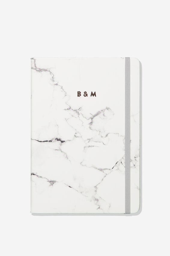 """Personalized A5 Buffalo Journal (8.27"""" x 5.83""""), MARBLE WITH GREY ELASTIC"""