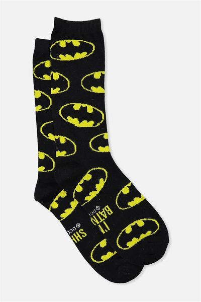 Mens Novelty Socks, LCN YELLOW BATMAN!