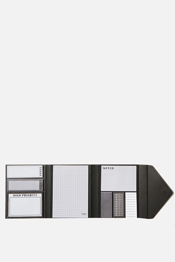 Pocket Sticky Note Set, BLACK GRID
